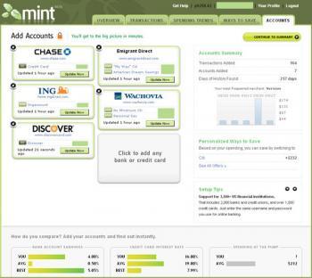 Mint Add Accounts Screen