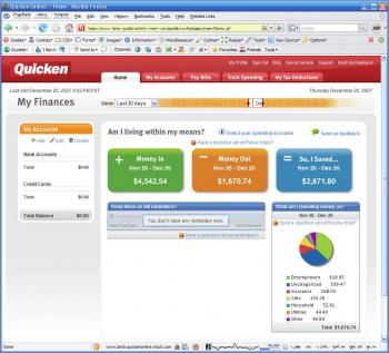 Quicken Online screenshot