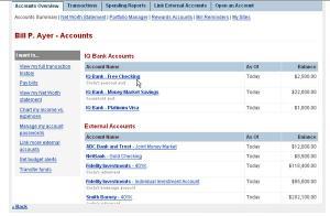 Yodlee MoneyCenter Sample Overview Screen