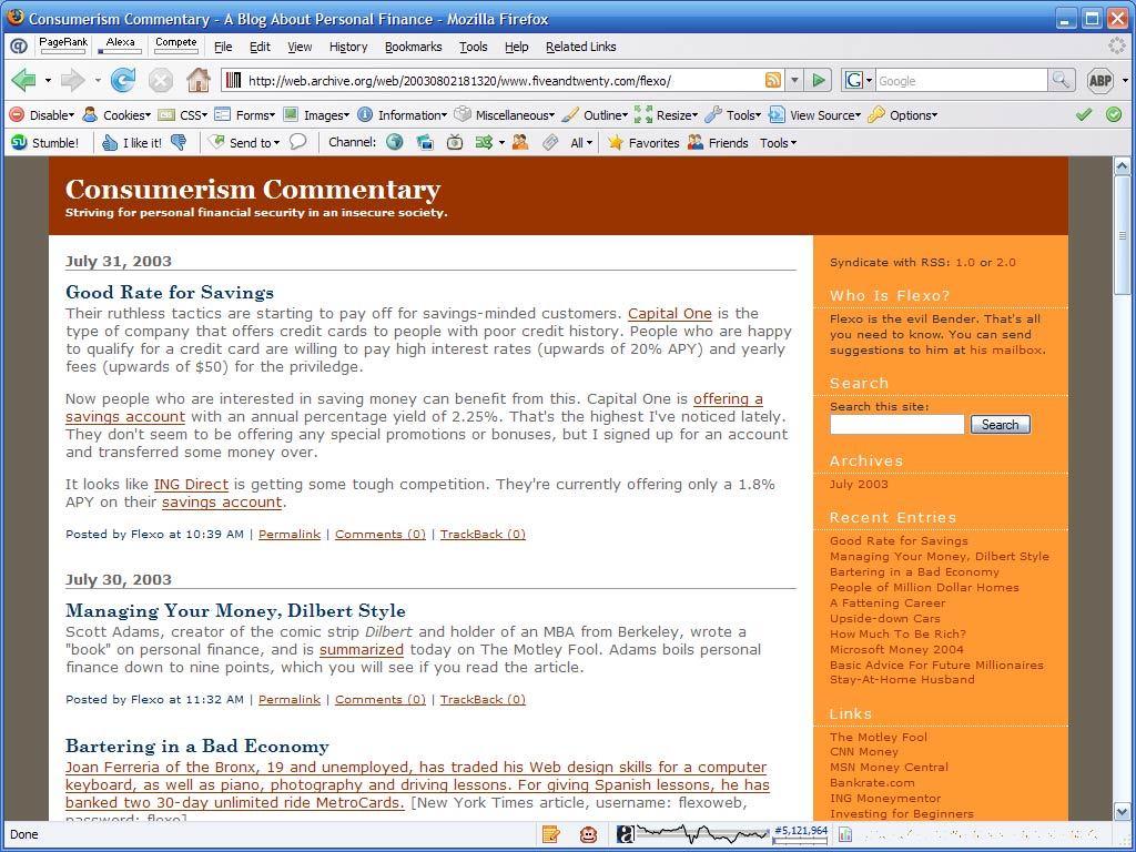 Original layout, Consumerism Commentary