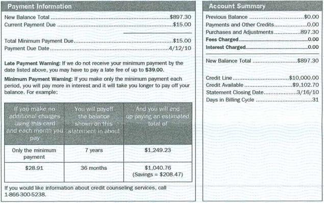 New Bank of America credit card statement