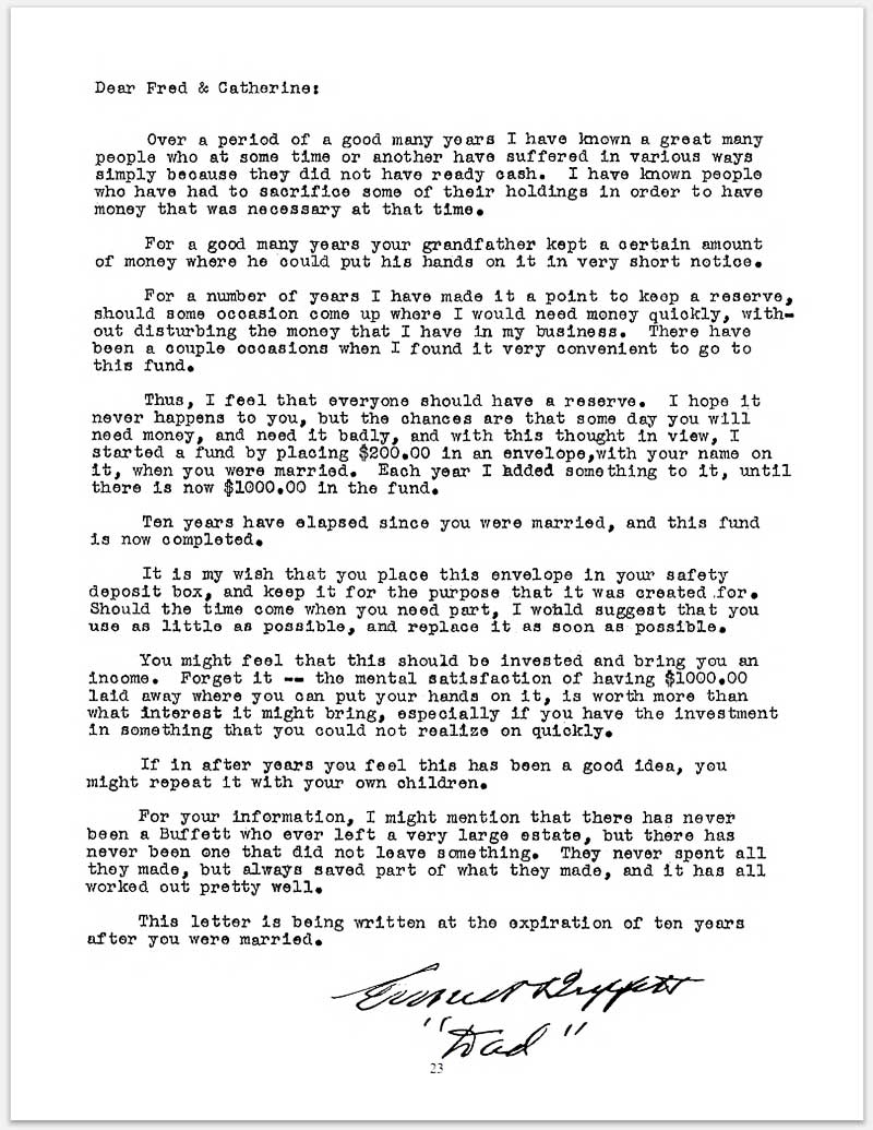 warren buffett annual letter the emergency fund in 1939 6686