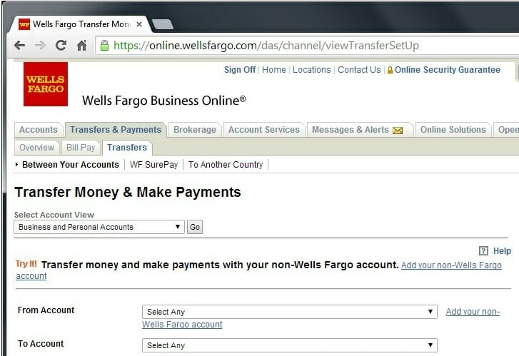 are several links on this page to add your non-Wells Fargo account ...